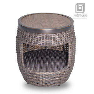 """20"""" Round All Weather Wicker Coffee Table Outdoor Patio Garden Furniture"""