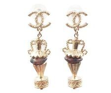 Brown Stone Amphora Piercing Earrings Chanel Brand New Gold Cc