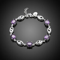 925 Sterling Silver Oval Purple Jade Strand Bracelet for Women cttw 34