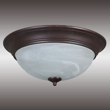 "15"" Matte Bronze Ceiling Fixture White Swirl Glass Diffuser with 2-Gu24 Sockets"