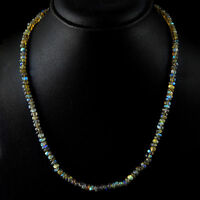 SUPERB 90.00 CTS NATURAL RICH BLUE FLASH LABRADORITE UNTREATED BEADS NECKLACE
