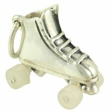 NEW 3D Sterling ROLLER SKATE CHARM Pendant w/ Movable Wheels Roller Derby Girls