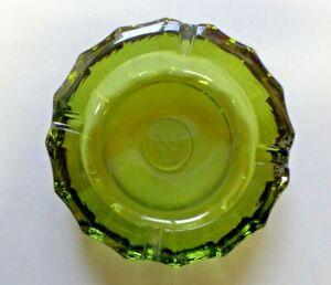 "Vintage 5 1/4"" Diameter Fostoria Olive Green Coin Glass Heavy Round Ashtray"