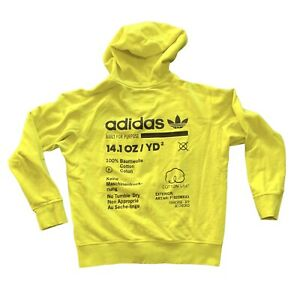 Men's Adidas Originals Full Zip Built For Purpose Hoodie Neon Yellow Small Rare