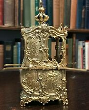 ANTIQUE FRENCH GILT & BRASS MINIATURE SEDAN CHAIR / CARRIAGE, Circa 1880s