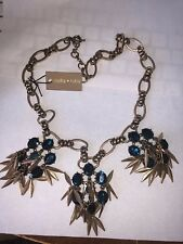 Stella & Ruby Golden Fringe & Peacock Turquoise Faceted Stone Statement Necklace