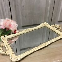 Large 56cm Antique Cream Vinatage Mirror Tray Candle Dressing Table French