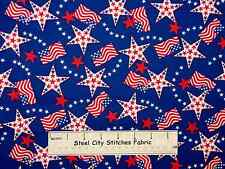Patriotic Red Cream Blue Stars USA Flag Motif Americana Cotton Fabric YARD