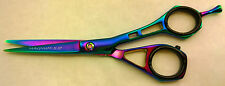 "5.5"" Pro Hair CUTTING Barber Scissors Shears MAGNUM Titanium RAINBOW Free Rings"