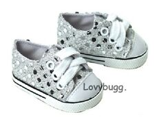 Silver Sparkle Sequins Sneakers for 18 inch Doll Shoes Clothes American Girl