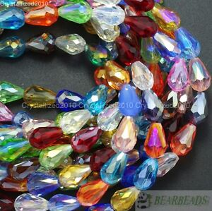 50Pcs Top Czech Crystal Faceted Teardrop Spacer Loose Beads 8mm 10mm 11mm 15mm