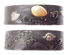 Antique Japanese Fuchi Shakudo Sea Shell Sword Fitting Tsuka Koshirae Samurai