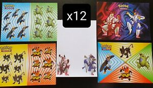 12x Pokemon Collectors Chest Tin Spring 2021 sticker sheets + notepad sets