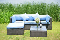 Patio Sectional Sofa Sets Wicker Cushioned Yard Outdoor Rattan Furniture Blue