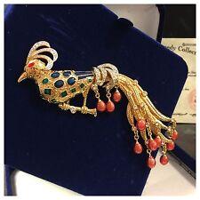 Camrose & Kross riesige Brosche Pfau Jacqueline Kennedy Collection m. Zertifikat