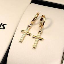 24k Yellow Gold Filled Smooth Cross Earrings Women Dangle Huggie hoop GF Jewelry