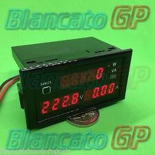 VOLTMETRO AMPEROMETRO WATTMETRO da pannello fattore di potenza apparente AC 230V