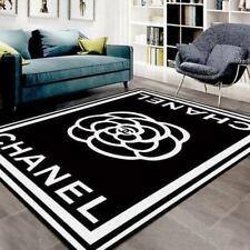 Chanel Logo Black And White Living Room Area Carpet Living Room Rugs Decor Home