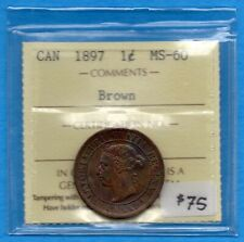 Canada 1897 1 Cent One Large Cent Coin - ICCS MS-60 Brown