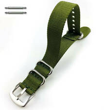 Green One Piece Slip Through Nylon Watch Band Army Military Silver Buckle  #6023