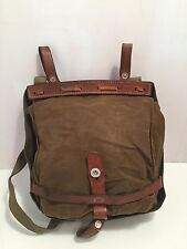 VINTAGE GENUINE SWISS ARMY LEATHER TRIMMED SATCHEL SHOULDER BREAD BAG