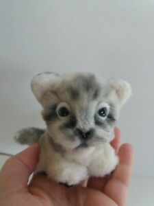 OOAK Artist Hand Made White Tiger/Snow Leopard Cub Toy,4in,