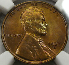 1931-S Lincoln Cent Gem BU NGC MS-64RB...Flashy, Original, Nice Color & Surfaces