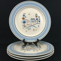 4 VTG Dinner Plates By Hearthside Primitif The Museum Collection Stoneware Japan