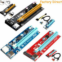 Set USB 3.0 PCI-E Express 1x To 16x Extender Riser Card Adapter Power BTC Cables