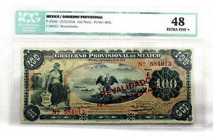 México. Gobierno Provisional. 100 Pesos. 1914. Revalidado. Extra fine+.