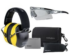 Titus Safety Glasses and Earmuff Combos Black Onyx B3 G20 Highest 34 Nrr Z Rated