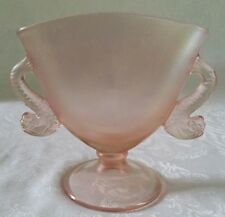 FENTON VALVA ROSE  STRETCH GLASS PINK FAN VASE IRIDESCENT WITH  DOLPHIN HANDLES
