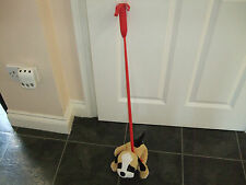 BROWN AND WHITE BOXER DOG SOFT TOY PLUSH ON STIFF LEAD TO TAKE FOR WALKIES