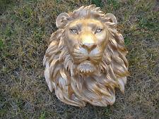 Large Gold SAFARI LION HEAD WALL MOUNT STATUE DECORATION CABIN LOG DECOR