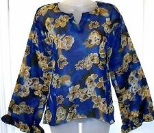 BLUE & GOLD MIX FLORAL TUNIC KAFTAN TOP FREE SIZE # H279*
