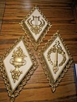 Vtg 1970's Set (3) Homco Home Interior Gold-Tone Wall Plaques #7226 USA     107