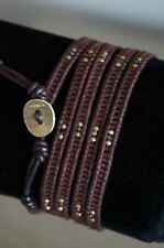 NEW Chan Luu Brown Seed Bead Crystal Gold Nugget Mix 5 Wrap Leather Bracelet