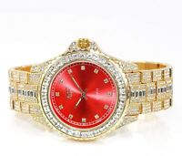 Fully Iced Watch Bling Rapper Lab Diamond Metal Band Gold RED Hip Luxury Club