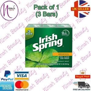 Irish Spring Deodorant Soap Bar - Original (Pack of 1) 3 Bars( 3.7 oz Soap Bar)
