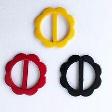 "Lily Flower Red Yellow Black Plastic Buckle 2.25"" Diameter, inner diameter 1.75"""