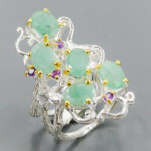 Gemstone fine Art Emerald Ring Silver 925 Sterling  Size 7.5 /R161529