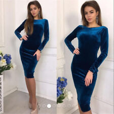 2019 Womens Bandage Bodycon Velvet Long Sleeve Evening Party Cocktai Midi Dress