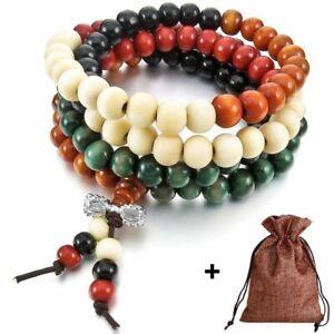 Bracciale Collana Legno Donna Mala Tibetano Rosario Buddista Multicolore+Omaggio
