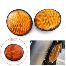 2pcs Round Yellow Reflectors Universal For Motorcycles ATV Bikes Dirt Bike Motor