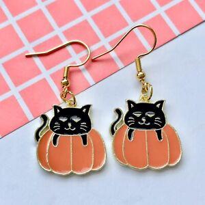 Cute Cat Pumpkin Charm Fun Dangle Earrings / Quirky/ Novelty Halloween