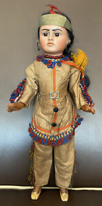 Rare Antique Character Bahr & Proschild American Indian Doll, Model 244, 12 Inch