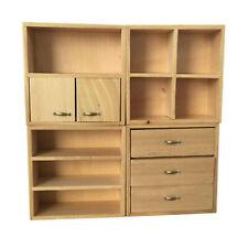 Dollhouse Burlywood Wooden Combination Cabinet Set 1:12 Miniature Furniture