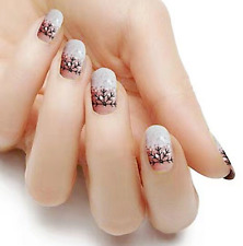 Winter snow Black white color real nail polish strips Kc320 street art wraps