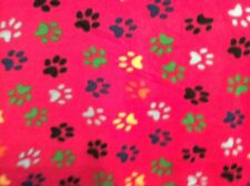 "colorful rainbow dog bear paw print on hot pink fleece fabric, 60"" w, sold BTY"