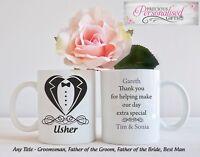 Personalised Mug cup Usher Groomsman Best man Wedding Gift Thank You Father of